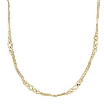 14K Yellow Gold Shiny+Diamond Cut 8-3.4mm 2 S trand Into 3 Strand Curb Type Link+3 Oval Link Clu ster Fancy Necklace with Fish Clasp