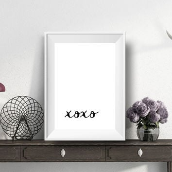 xoxo,Printable art,Typography art,Hugs and kisses,Love print,Marble,Modern art,Inspirational quote,Motivational poster,Word art,home decor