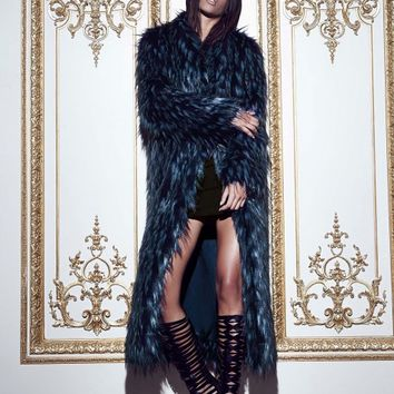 Missguided - Peace + Love Longline Faux Fur Coat Blue