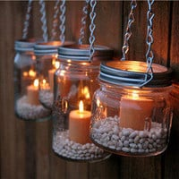 The Country Barrel — Set of 4 DIY Mason Jar Luminary Lids - Silver Chain