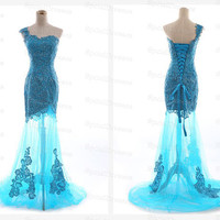Amazing Blue Embriodery Mermaid/Trumpet One-shoulder Neckline Sweep Train Prom Dress/ Lace Prom Dress/Cheap Long Lace Dresses