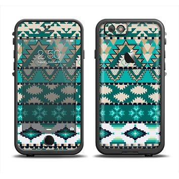 The Vector Teal & Green Aztec Pattern  Apple iPhone 6 LifeProof Fre Case Skin Set