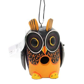 Home & Garden OWL FALL COLORS BIRDHOUSE Albesia Wood Hand Painted Se3880215