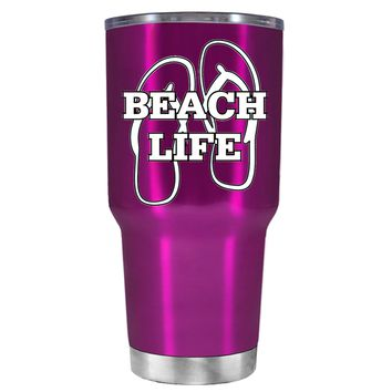 The Beach Life Sandals on Translucent Pink 30 oz Tumbler Cup