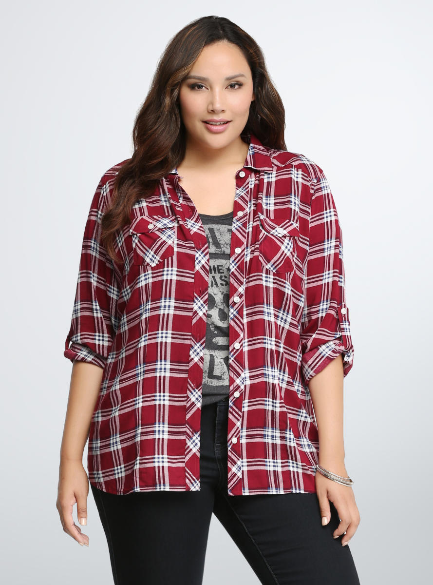 be6ee550c8c Plaid Challis Camp Shirt from Torrid