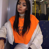 HIDDEN CULT Too Much Sauce CROPPED Safety Orange Long Sleeve