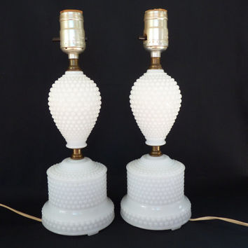 Pair Vintage Hobnail Milk Glass Lamps, Vanity Lamp, Boudoir Lamps, Round Base, Vintage Lighting, Home Decor, Working Condition