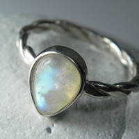 Moonstone Ring  Rainbow Moonstone Stackable by FantaSeaJewelry