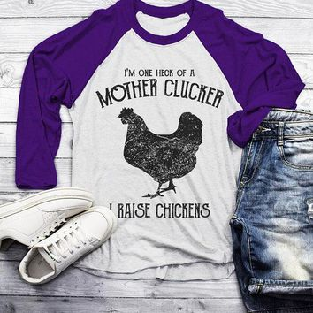 Men's Funny Chicken Farm T-Shirt Mother Clucker Vintage Chickens Raise Shirt Tee 3/4 Sleeve Raglan
