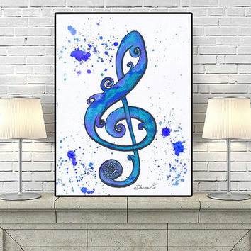 Treble Clef Key Note Signature, Red Blue Green Wall Decor, Modern Wall decor PRINT, Living Room decor, Treble Clef  Drawing Music painting