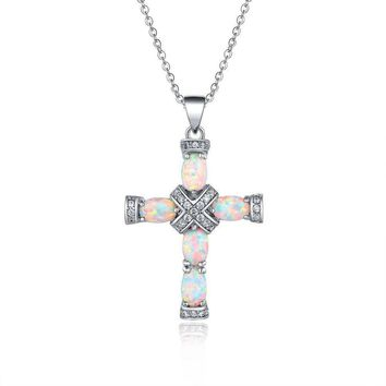 Rhodium Plated White Fire Opal Fancy Cross Necklace