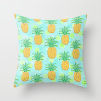Pineapples and Polka Dots Throw Pillow by Lisa Argyropoulos