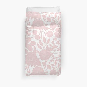 'Modern pink abstract watercolor flower pattern' Duvet Cover by UtArt