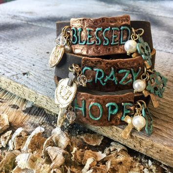 Metal Stamped Leather Bracelet With Crazy, Hope or Blessed