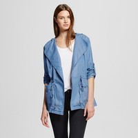 Women's Front Tie Denim Jacket with Hood Chambray - R+J Couture