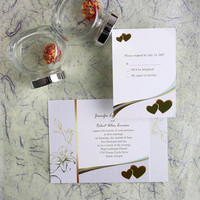 Double hearts wedding invitations suites – personalized and custom wedding invites with beautiful flower details EWI012
