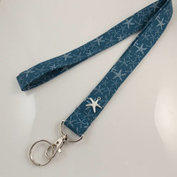 Starfish Lanyard Starfish Charm Starfish Necklace Teacher Lanyard Nurse Lanyard Work Lanyard Ocean Lanyard Nautical Lanyard Beach Lanyard