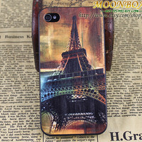 Hard Case Cover And Retro Classics The Eiffel Tower Black For Apple iPhone 4gs Case, iPhone 4s Case, iPhone 4 Hard Case mb641