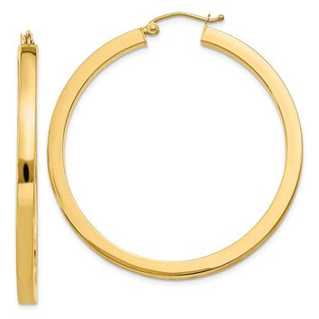 3mm, 14k Yellow Gold Square Tube Round Hoop Earrings, 45mm (1 3/4 In)