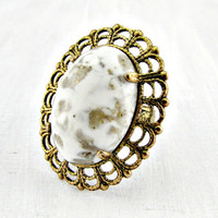 Vintage White Glass Cabochon Cocktail Ring, Marbled White Gold Ring, Brass Filigree Ring, Adjustable Statement Ring, 1960s Vintage Jewelry