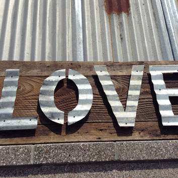 Vintage Reclaimed Barn Wood Sign Patina Corrugated Steel Rustic Minimalist Love Valentine's Day 1800's Antique