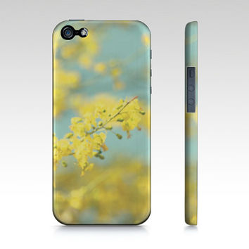 Blue Yellow Phone Case - iPhone 5 5S 6 6S - Abstract Phone Cover - iPad Mini - Samsung Galaxy S4 S5 - Pastel Sky - Bright Yellow Flowers