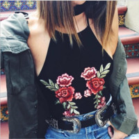 Fashion sexy embroidery red flower black handing neck high neck top