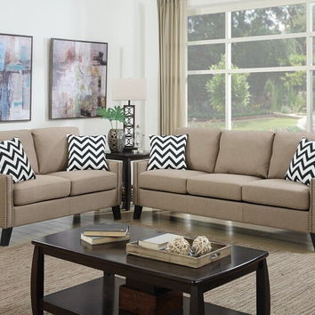 Poundex F6908 2 pc Pallisades collection sand linen like fabric upholstered sofa and love seat set with nail head trim
