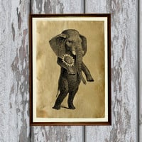 Vintage decoration Cute elephant print Antique home decor 8.3 x 11.7 inches