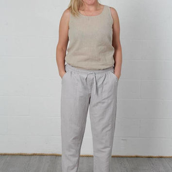 Linen Casual Pants, linen loose pants, washed linen trousers, summer pants, summer comfortable trousers, women summer clothing
