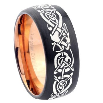 8mm Celtic Dragon Dome Tungsten Carbide Rose Gold Anniversary Ring