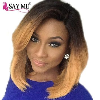 SAY ME Ombre Brazilian Straight Hair Weave Can Buy 3/4 Human Hair Bundles Non Remy 1B/27 10 Inch Short Bob Blonde Extensions