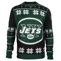 New York Jets Forever Collectibles KLEW Big Logo Ugly Sweater Sizes S-XXL w/ Priority Shipping