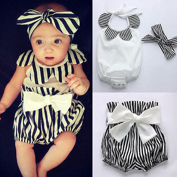0-24M Newborn Baby Girls Clothes Cute Bebes Infant Toddler Kids Clothing Set Flower Baby Bodysuit Stripped Short Headband 3pcs