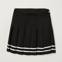 Short Pleated Skirt - Black - Ladies | H&M US