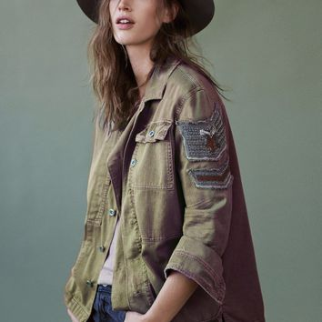 Embellished Military Shirt Jacket