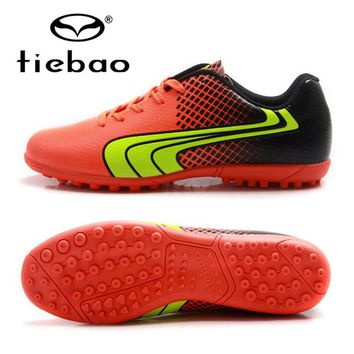 TIEBAO Brand Soccer Shoes Tf Turf Soles Teenagers Football Shoes Sport Sneakers Blue Outdoor Soccer Cleats Boots Eu Size 37-43