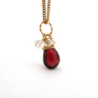 Red garnet necklace, herkimer diamond jewelry, burgudy garnet pendant, gold filled gemstone jewelry, genuine garnet jewelry, cluster jwelry
