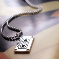 80's child - silver plated unisex necklace with casette tape pendant
