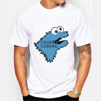 ESB6F Fashion Cookies is Coming Print T Shirt Men Game of Throne Funny Cookie Monster T-shirt For Male/boy Tshirt Tops O-neck Shirts
