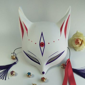 Japanese custom wind fox mask Painted Fox Mask Cosplay Masquerade  Animal White Plastic PVC Fox Cosplay