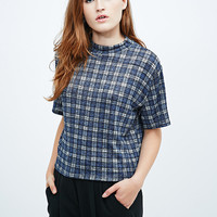 Cooperative Boxy Turtleneck Top in Check - Urban Outfitters