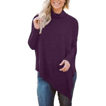 Women's Christmas Clothes Long Batwing Sleeve Turtleneck Hem Loose Casual Tunic Blouses Pullover Blouses Crop Top