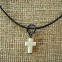 White Stone Cross Necklace. Boho Chic.