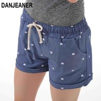 Womens summer home casual elastic waist cotton printed cat pumping candy shorts