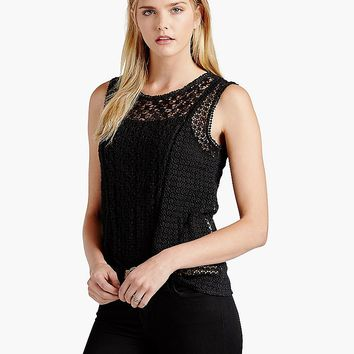 Lucky Brand Lace Shell Womens - Lucky Black