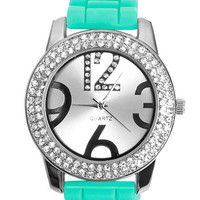 Double Rhinestone Rubber Watch | Shop Accessories at Wet Seal