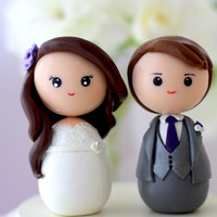 Personalized custom wedding cake topper kokeshi figrurines