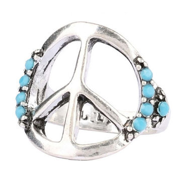 New Hot Vintage Retro Handmade Womens Silver Ring Womens Peace Sign Ring Lady Fashion Casual Jewelry Unique Best Gift Girl Rings-46