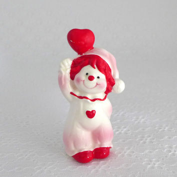 Valentine Clown Figure, Vintage Clown Figurine, Originals by Erika, Pink Red White, Valentines Day Decor, Heart Balloon, Cute Small Clown